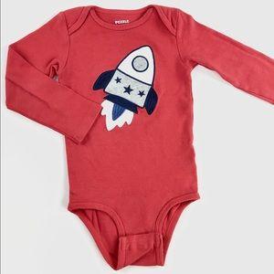"""Red """"rocket"""" onesie"""